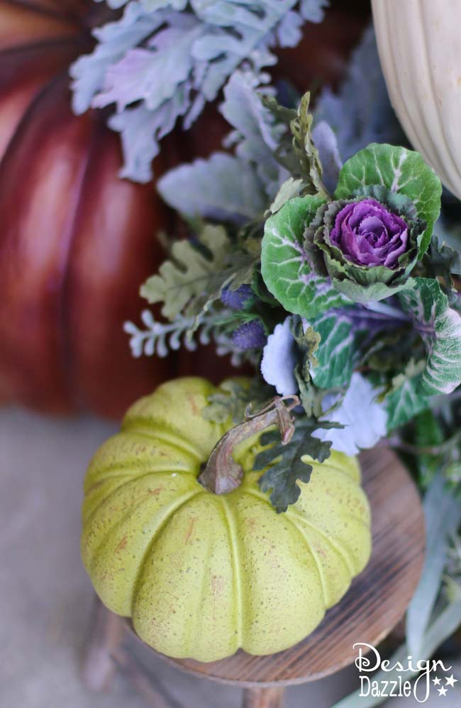 Fall pumpkin porch decor in plums, purples, blues and greens! | Design Dazzle