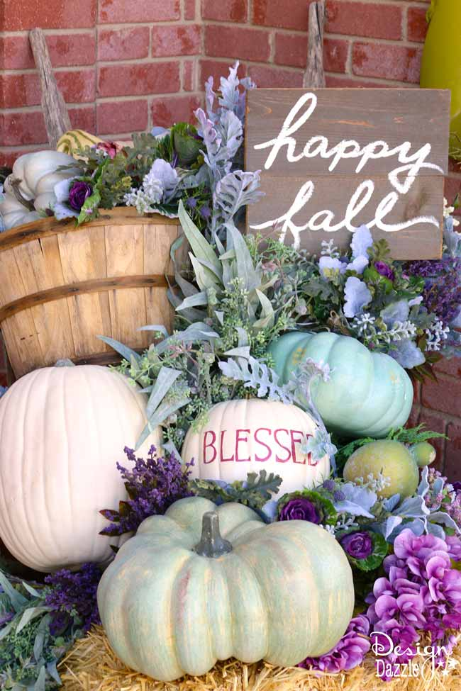 Fall pumpkin porch decor in plums, purples, blues and greens! Super cute DIY decorating ideas for 2018 fall! #fallfrontporch #frontdoordecoration #frontporchideas #fall || Design Dazzle