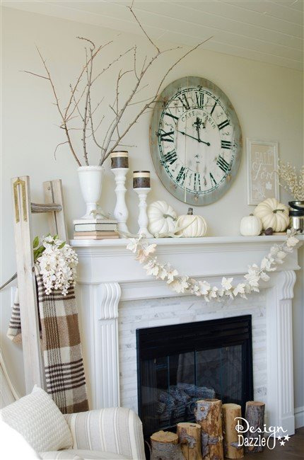 Easy Fall Themed Mantel | Design Dazzle