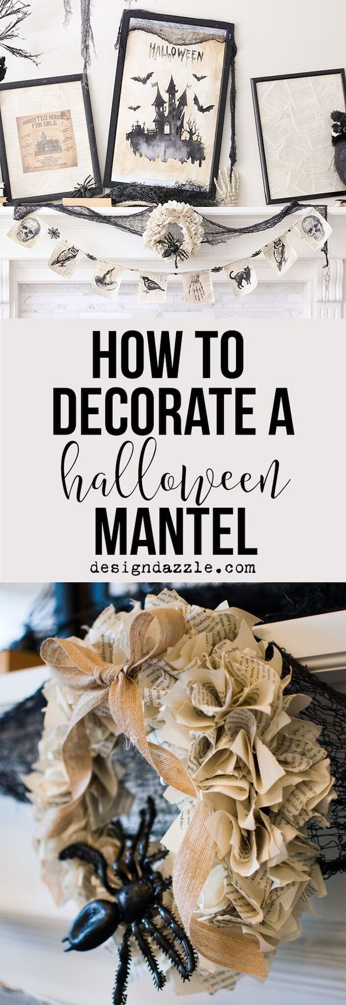 How to create a gorgeous Halloween mantel in under 5 minutes! | easy halloween mantel | halloween mantel decor | mantel decor for halloween | quick halloween decor | halloween home decor ideas || Design Dazzle