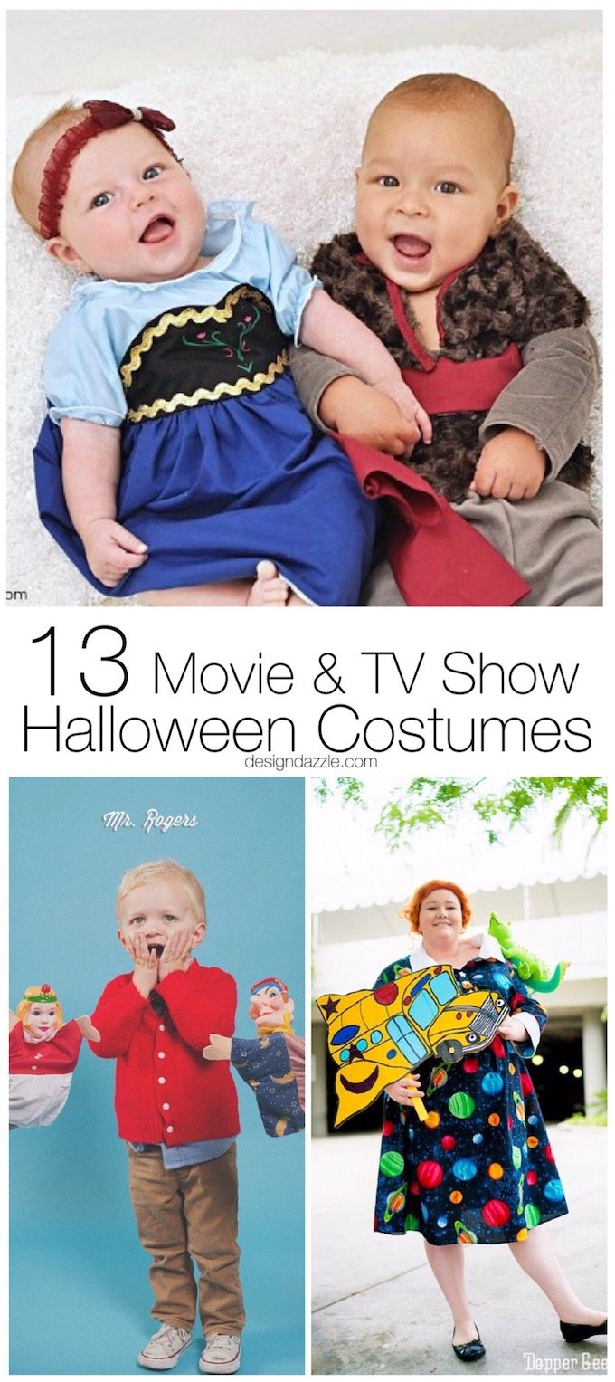 This post shows 13 of my favorite movie and TV show themed Halloween Costumes that you can quickly and easily make yourself! |  DIY halloween costumes | homemade halloween costumes | halloween costume ideas | movie themed halloween costumes || Design Dazzle
