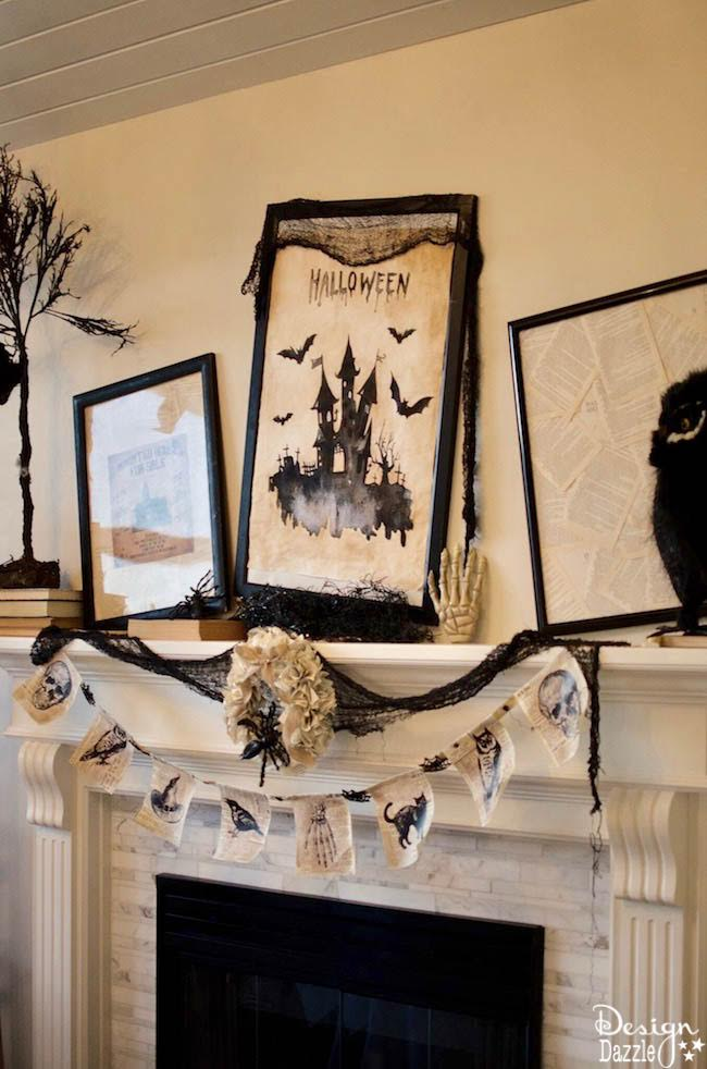 How to create a gorgeous Halloween mantel in under 5 minutes! Spooky DIY decoration ideas to turn your fireplace into a black and white masterpiece! #halloweendecorations #halloweencrafts