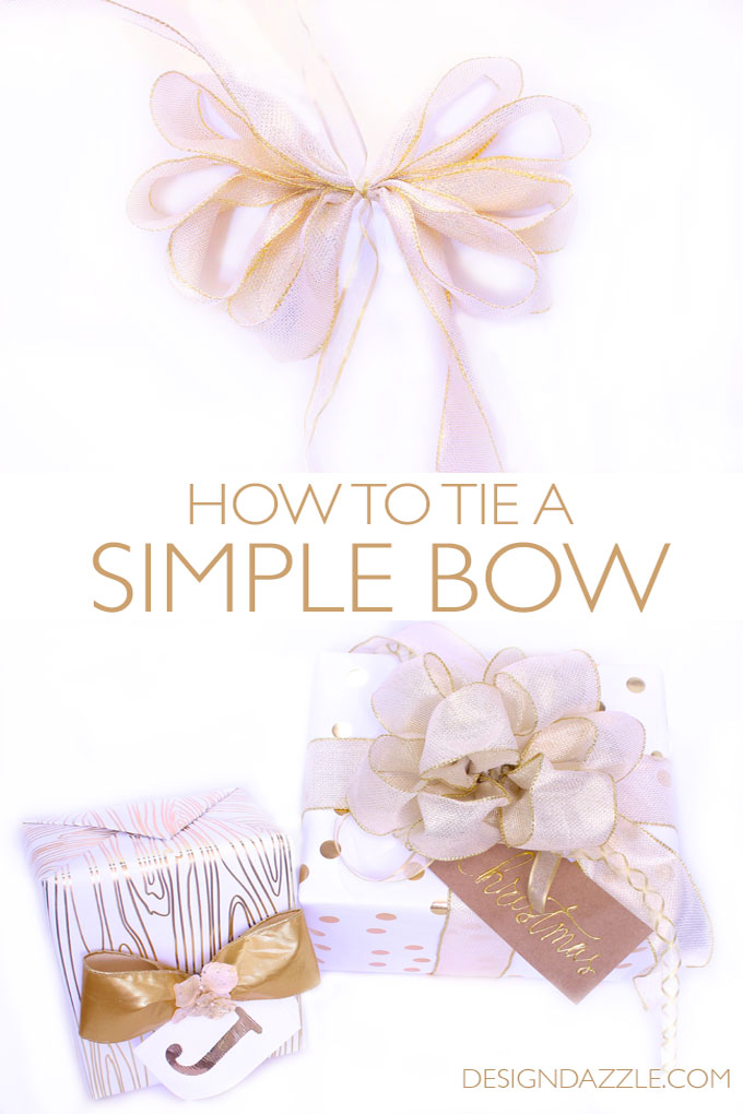 Simple steps on how-to tie a simple bow | how to tie a bow | bow tutorial | gift wrapping tips and tricks || Design Dazzle #diybow #giftwrapping #wrappingtips