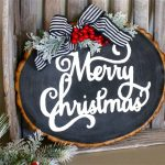 Wood Slice Christmas Signs with Free Template