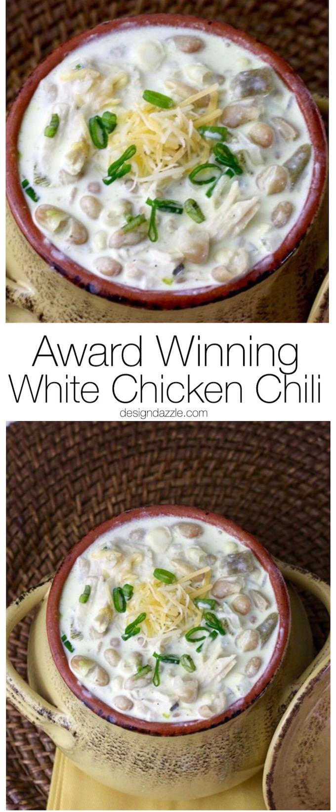 Award Winning Creamy and Delicious White Chicken Chili | Design Dazzle