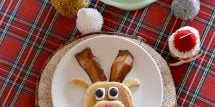 This reindeer pancake party is whimsical and delicious. Gluten-free reindeer pancakes are easy to make and the whole family will love them.