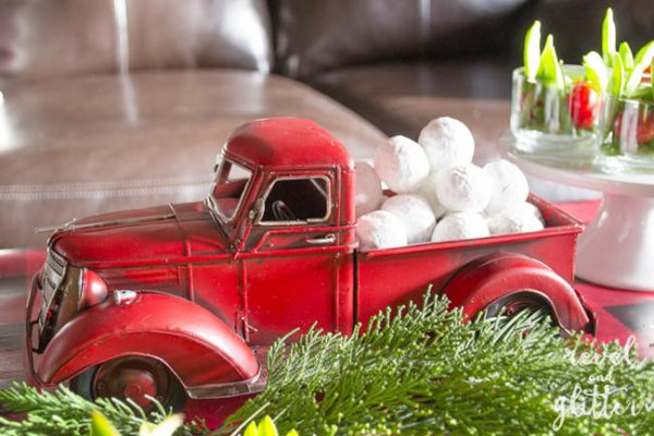 Red Truck Christmas Party Table; truck with doughnuts