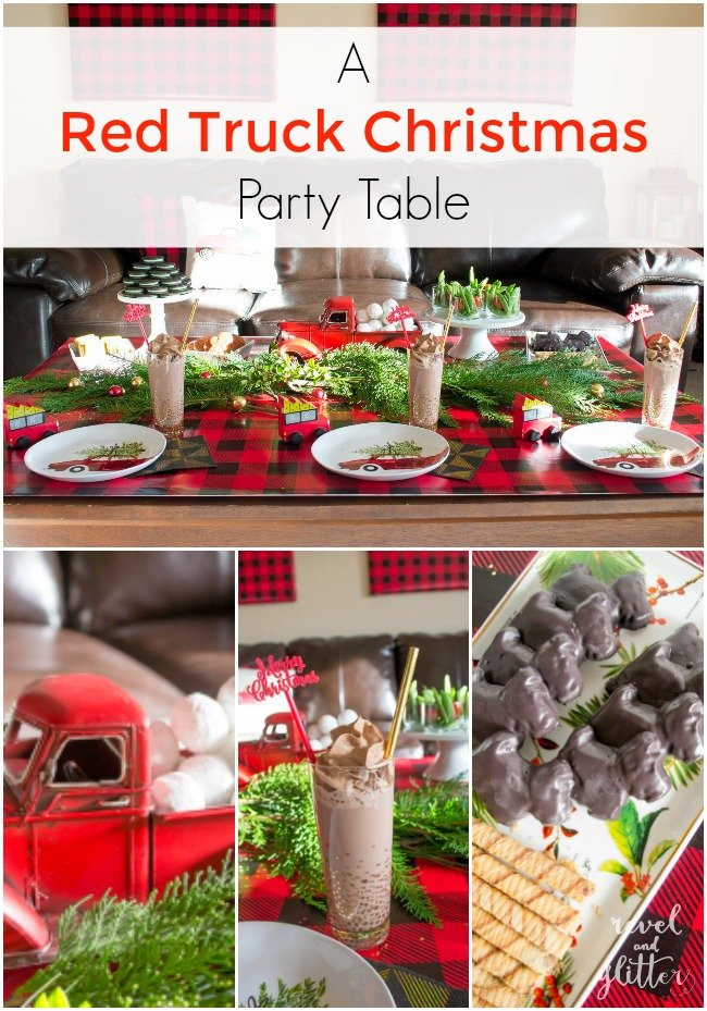create a red truck christmas party table christmas tablescapes christmas table decor christmas