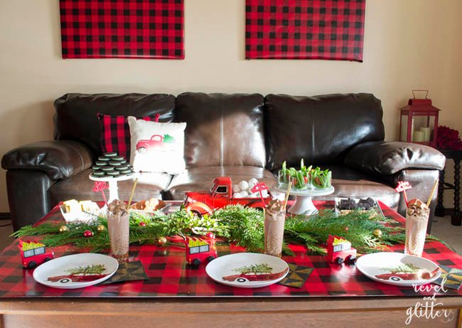 create a red truck christmas party table christmas tablescapes christmas table decor christmas - Decorated Christmas Tables Parties