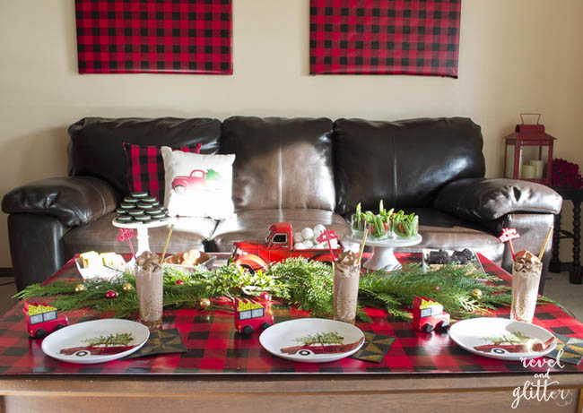 Create a Red Truck Christmas Party Table | Christmas tablescapes | Christmas table decor | Christmas kitchen decor | Christmas home decor | decorating for Christmas || Design Dazzle #christmastablescape #christmasdecor #christmastable