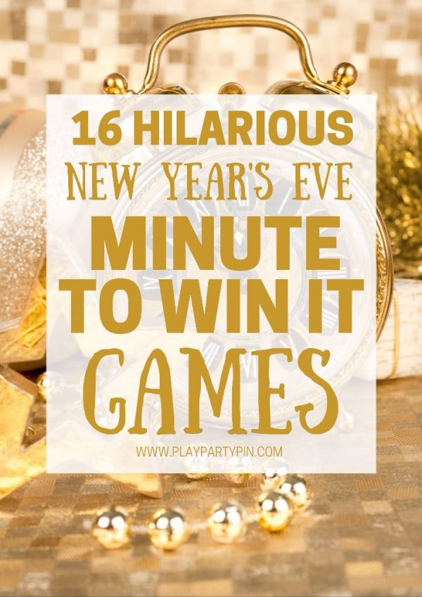Hilarious New Year's Eve Party Games for the whole family! Ring in the New Year with minute to win it games! #newyearseveparty