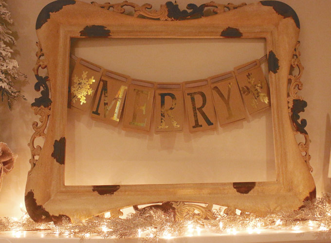 """Create a Gold Foil """"Merry"""" banner using an iron 