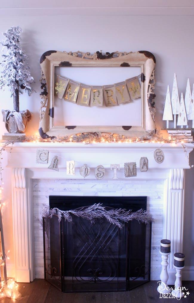 "Gold Foil ""Merry"" banner | Christmas home decor | Christmas diy | diy Christmas decor | Christmas mantel decor || Design Dazzle #christmasdecor"