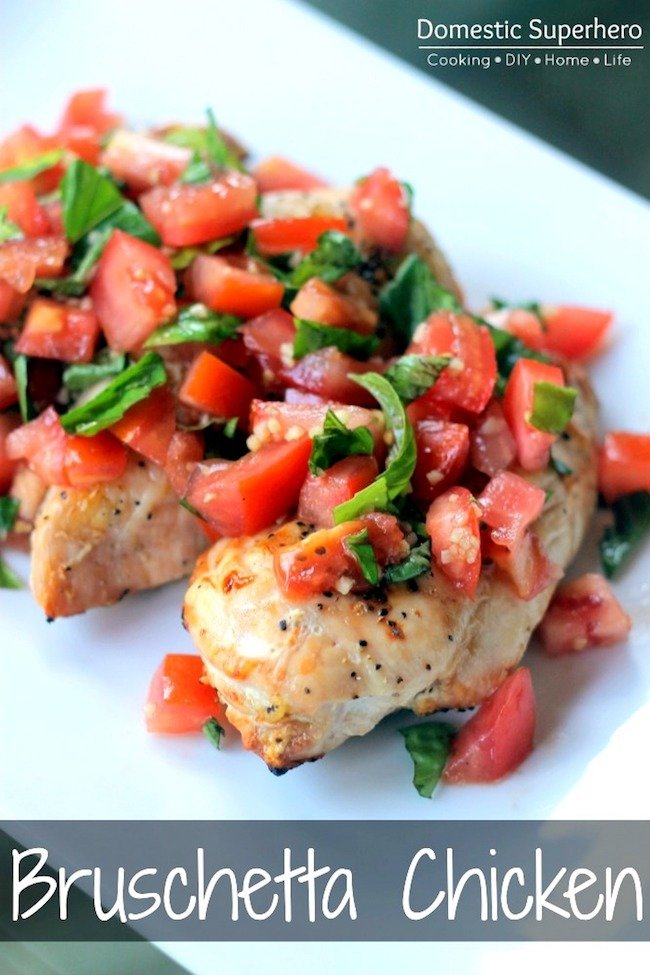 9 Deliciously Healthy recipes for the New Year! Bruschetta Chicken that is mouth watering! #healthyrecipess   Design Dazzle
