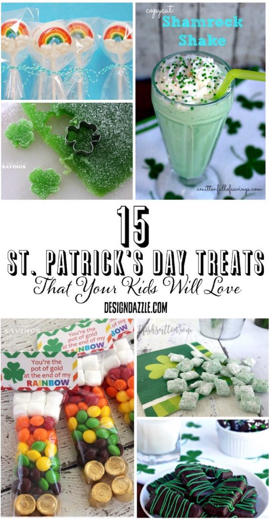 15 St. Patrick's Day Treats for kids! Adorably fun and oh so delicious! Full list on Design Dazzle