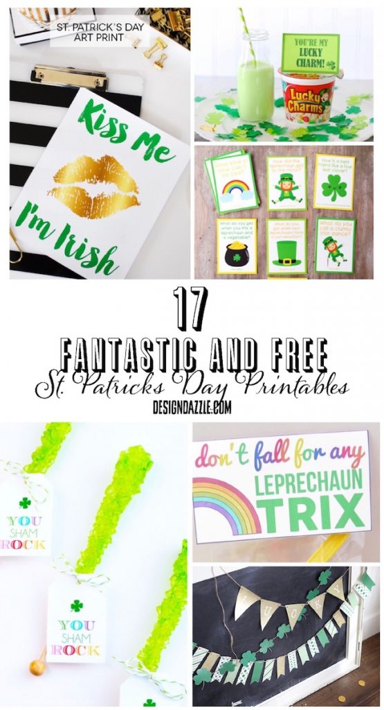 Whether you need cute St. Patty's Day decor, food or craft to go with a classroom or neighbor treat, these completely FREE printables are the ones for St. Patrick's Day! | Design Dazzle