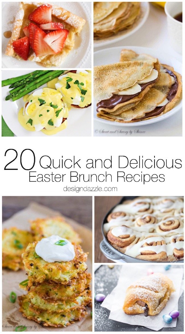 """All 20 of these Easter brunch ideas and recipes are """"egg-cellent"""", quick, and delicious so you can have a blast while hosting your family on Easter while enjoying great food! 