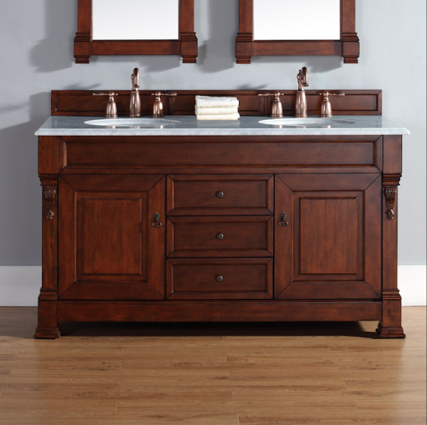 This post includes 20 trendy, stylish, and fun bathroom vanities of many different sizes and designs to fit any bathroom and decor style! | Design Dazzle