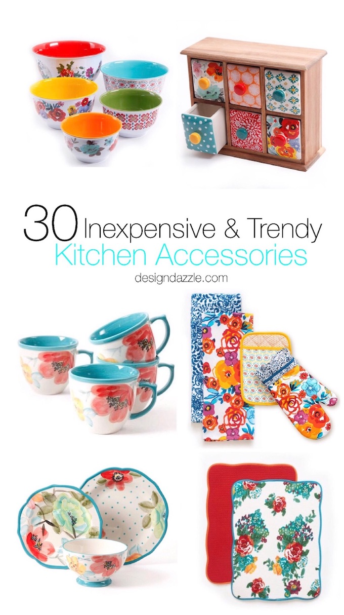 30 inexpensive and trendy kitchen accessories. From pretty decorations to trendy dishes, the kitchen is such a great place to spruce up your home decor! | Design Dazzle