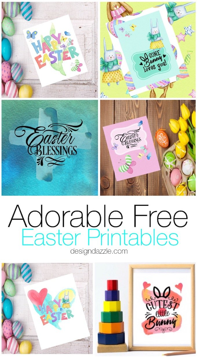 These 6 Easter printables are sure to brighten up your day! They are absolutely adorable and can be used in a number of different ways. | Design Dazzle