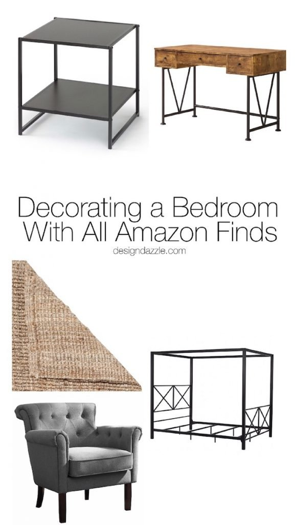 This post shows how to create white planked walls + completely decorate a whole guest bedroom with decor and furniture you can find on Amazon! | Design Dazzle