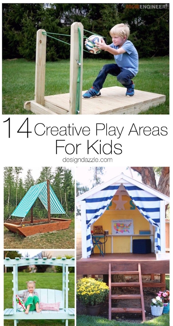 Here are 14 extremely creative and fun play areas for your kids that will sure to zap all the boredom from their brains! Enjoy and happy summertime! | Design Dazzle
