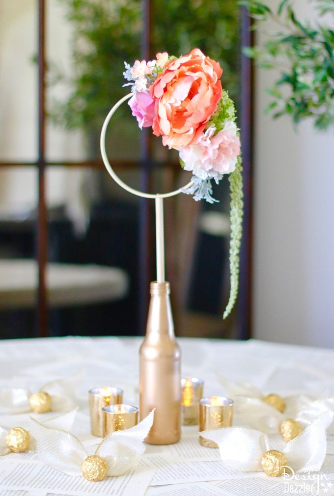 This gorgeous craft consists of anything and everything Harry Potter! Harry Potter Quidditch Bridal Shower Centerpiece complete with Golden Snitches. | Design Dazzle