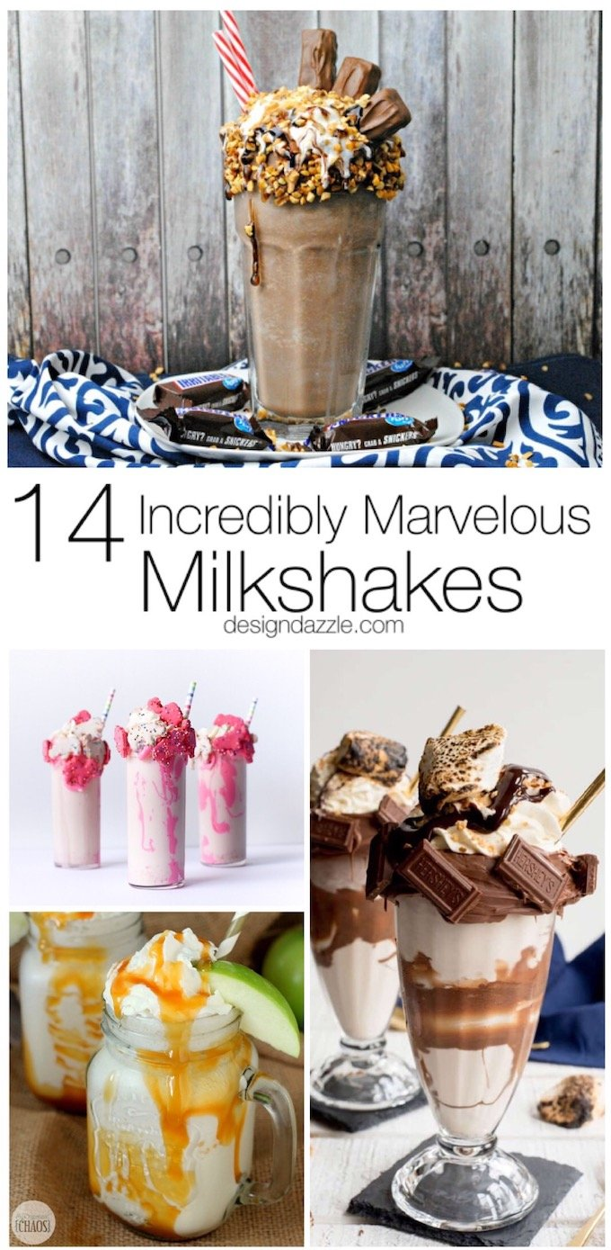 If you're looking to try a new milkshake recipe or find something fun to whip up for a party, here are 15 marvelous milkshakes for you to try!   Design Dazzle
