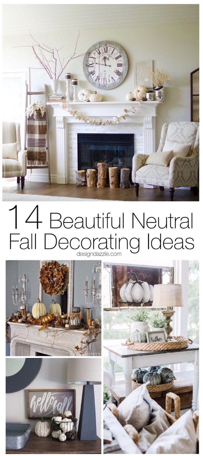 You don't always have to resort to reds and oranges. Here are 14 beautiful examples of using a neutral color palette to warm up your home for fall! | decorating for fall | neutral fall decor ideas | fall decorating tips | home decor tips for fall | neutral home decor for fall | fall decor tips || Design Dazzle