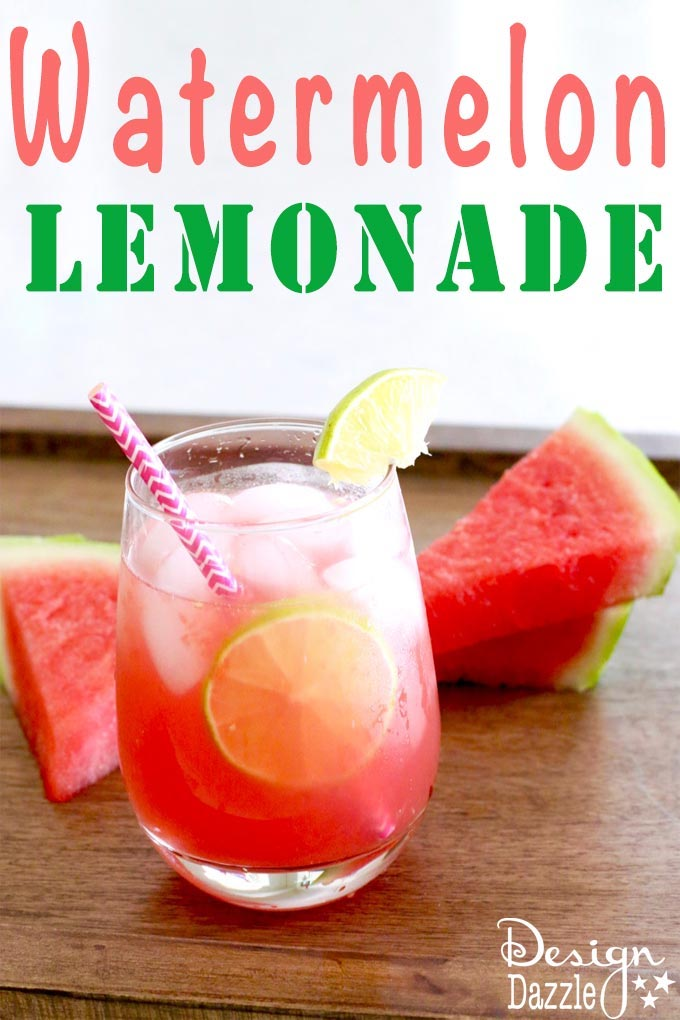 This fresh watermelon lemonade drink is very versatile. You can add lemonade or limeade to the watermelon juice for a thirst-quenching drink! | Design Dazzle