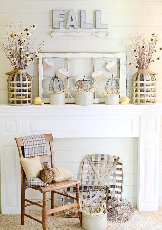 Neutral Fall Mantel You don't always have to resort to reds and oranges.  Here are 14