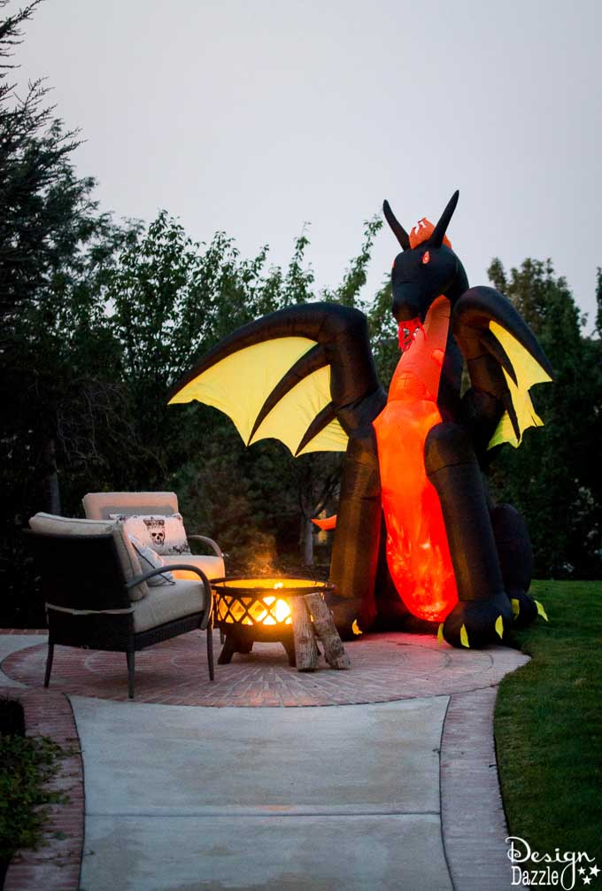 Home Depot's Halloween Style Challenge for my front porch! Fabulous DIY Halloween outdoor decor that includes a fire breathing dragon! #Halloween #halloweendecorations #frontporchideas || Design Dazzle