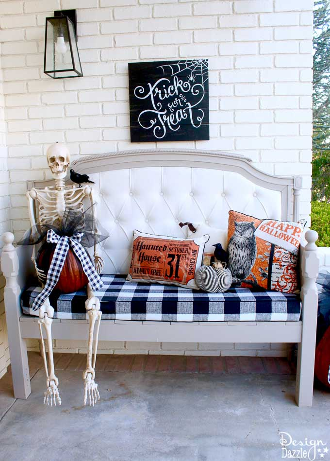 How I decorated my Halloween Patio for Home Depot's Halloween Style Challenge. See how I incorporated a fire breathing dragon into my decor! | halloween home decor | home decor for halloween | halloween porch decor | halloween decorating tips || Design Dazzle #halloweenporch