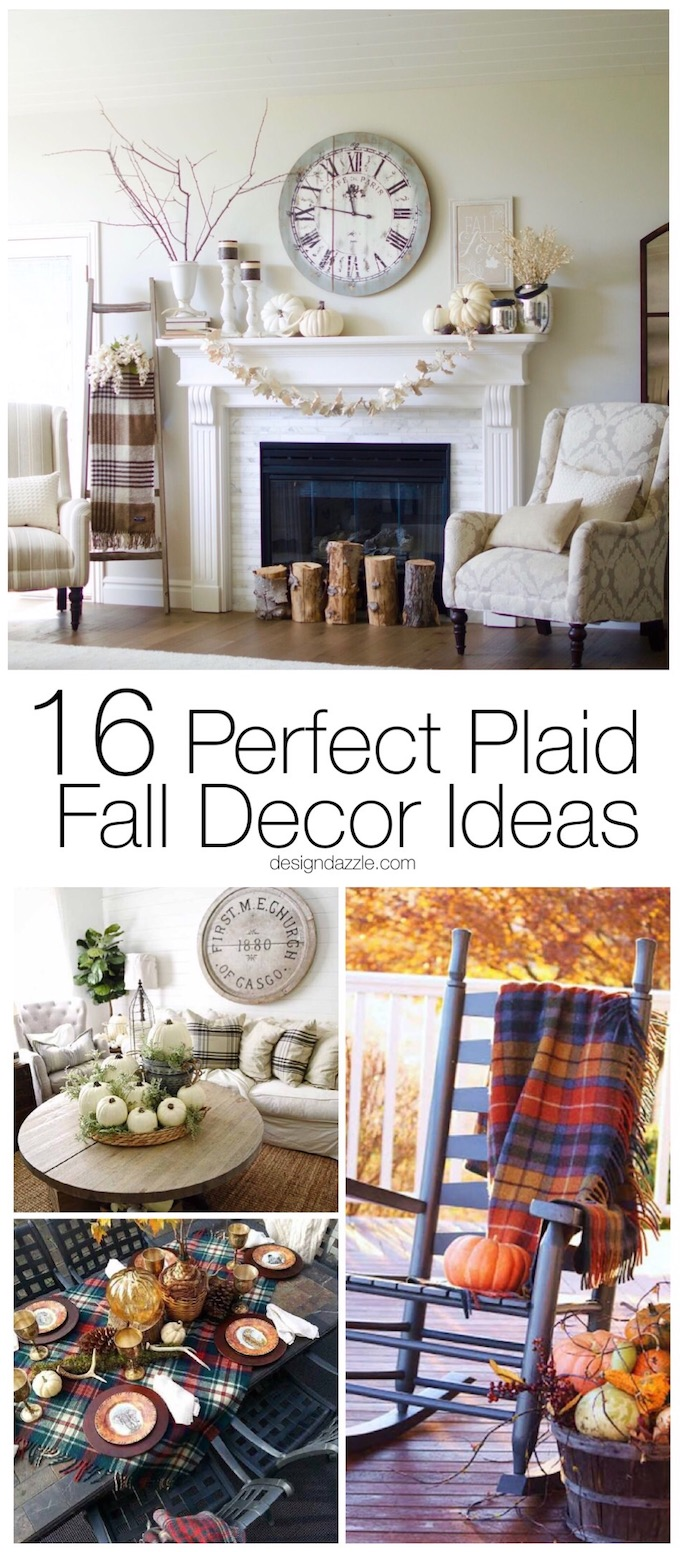 16 Perfect Plaid Fall Decor Ideas! Cozy indoor and outdoor DIY decor ideas for your home this holiday season. #plaid #homedecor #cozylivingroom || Design Dazzle