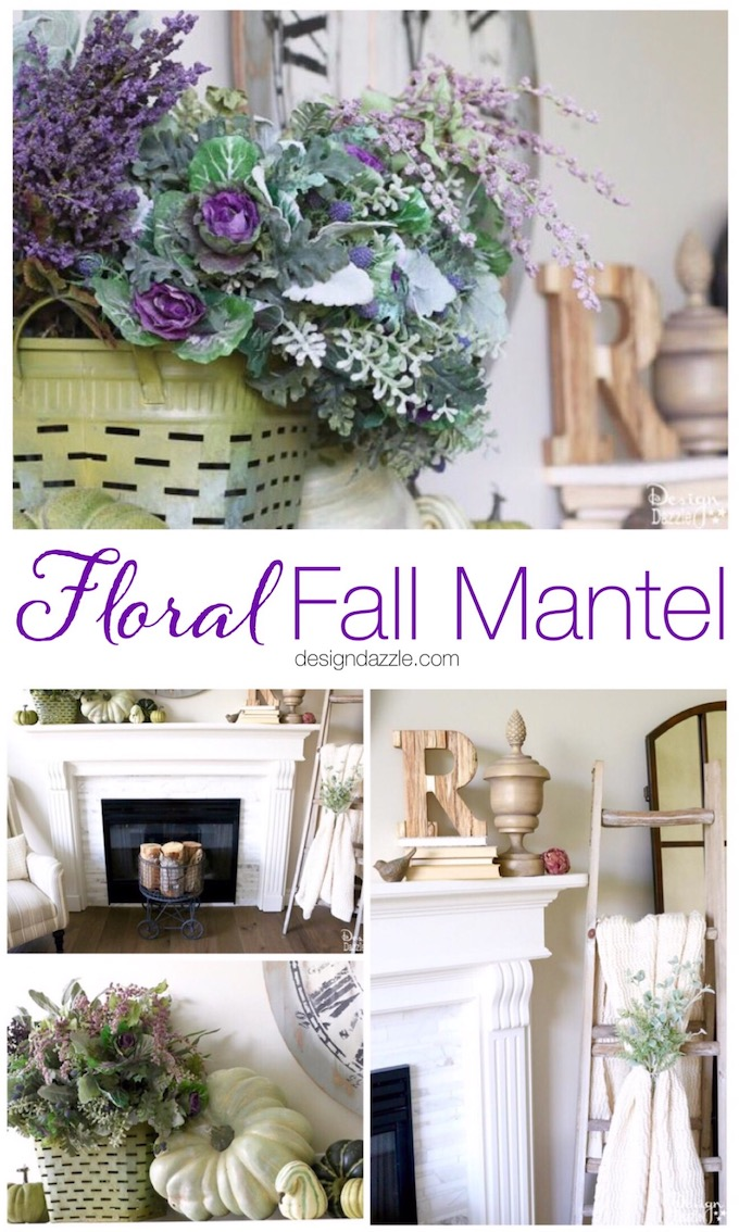 Create a unique fall mantel with incorporating beautiful and fun fall colors like greens, plums, lavender, blues, and sage. | decorating for fall | fall home decor tips | fall home decor ideas | fall decorating tips | fall mantel decor ideas | how to decorate a fall mantel || Design Dazzle