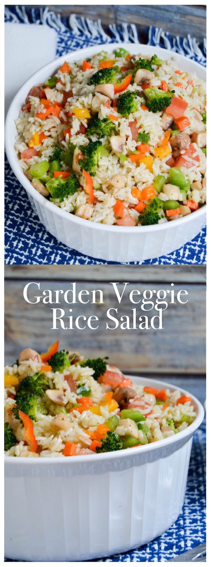 This Garden Veggie Rice Salad is not only healthy and delicious but also leaves you feeling full and satisfied afterwards. It's so quick to put together! | healthy rice recipes | healthy vegetable recipes | simple dinner recipes | quick dinner recipes | healthy dinner recipes | how to use garden vegetables | garden vegetable recipes || Design Dazzle #healthyrecipes