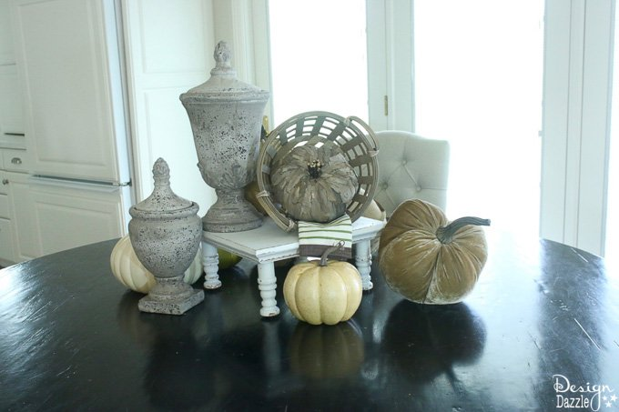 Fall is one of my favorite seasons to decorate for. I'm sharing my go to tutorial on creating a fall centerpiece with step-by-step photos here! | fall home decor | home decor ideas for fall | fall centerpiece ideas | diy fall centerpieces | how to create a fall centerpiece | home decorating for fall || Design Dazzle