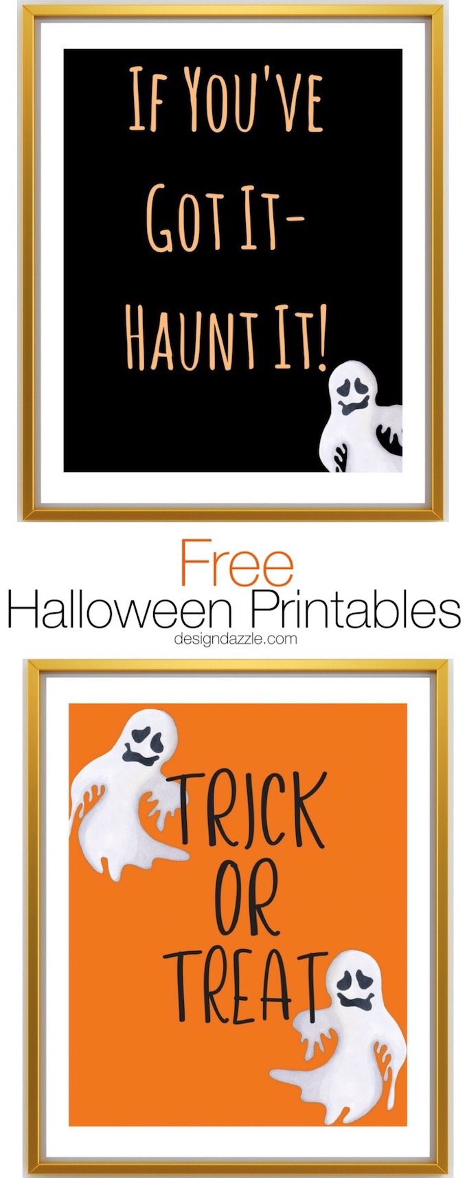 I love decorating with printables! The options are endless with these cute Halloween printables...and don't you love that they are FREE?! | free printables | free halloween decor | halloween printable ideas | halloween decor | decorating for halloween || Design Dazzle #halloweendecor
