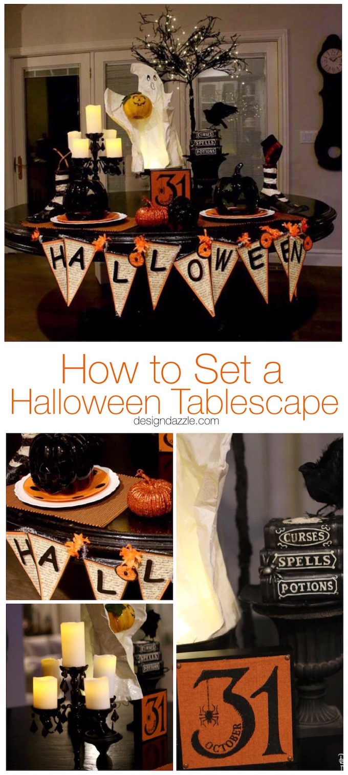 Having a cute Halloween tablescape is my favorite part of my Halloween decor! See how I used my kitchen table as the highlight of my decorations. | halloween decor ideas | decorating for halloween | halloween tablescape ideas || Design Dazzle #Halloweendecor