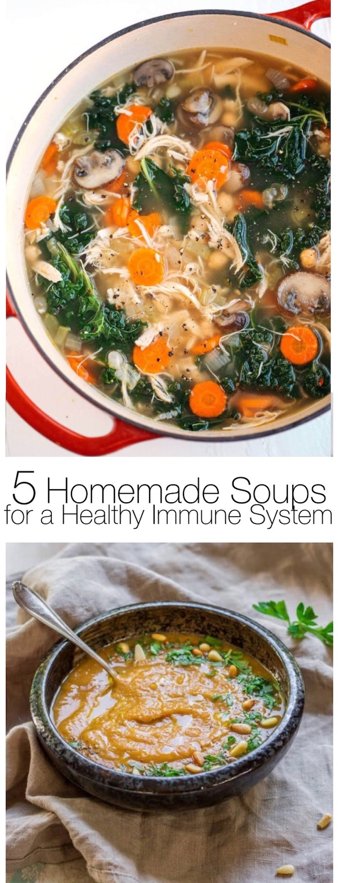 The 5 delicious homemade soups featured here include the best ingredients to fight the flu and encourage a healthy immune system! || Design Dazzle #healthysouprecipes #immuneboostingrecipes #healthyrecipes