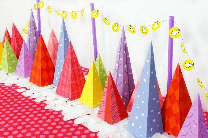 Colorful Christmas Tree Lot Free Download by Piggy Bank Parties | diy christmas decor | diy holiday decor | decorating for the holidays | decorating for christmas | paper christmas tree || Design Dazzle #paperchristmastree #diychristmasdecor #diyholidaydecor
