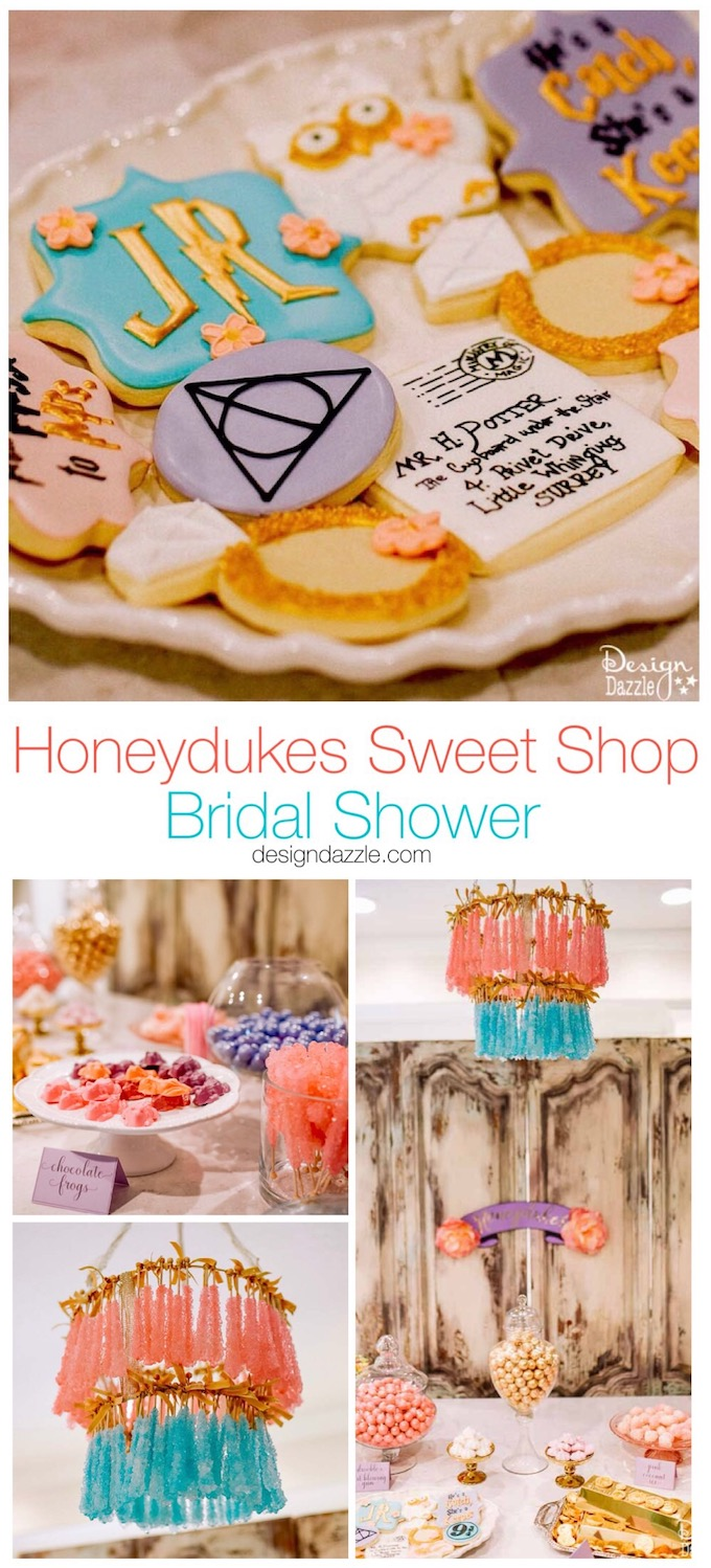 Harry Potter themed bridal shower idea complete with Honeydukes Sweet Shop, this party would also work perfect for a Birthday Party or Baby shower! | bridal shower ideas | bridal shower decorations | themed bridal shower ideas | harry potter themed parties | harry potter party decorations || Design Dazzle #bridalshower #harrypotter #themedparty #themedbridalshower