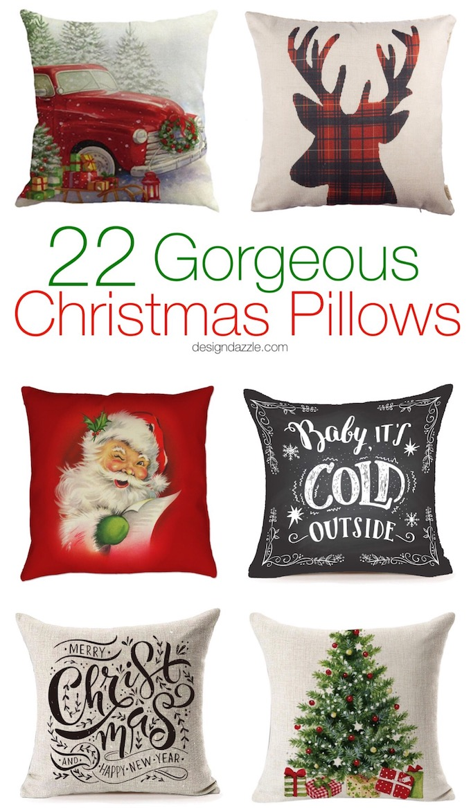 These 22 gorgeous Christmas pillows have a vintage vibe and are some of my very favorites that I have ever found. There isn't one pillow above $15! | christmas home decor | holiday home decor | christmas home decor ideas | living room christmas decor | easy christmas decor || Design Dazzle #christmasdecor #christmaspillow