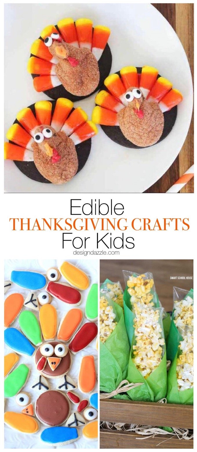 These 17 edible Thanksgiving crafts for kids are the perfect way to keep your kiddos entertained during all of the Thanksgiving festivities! #thanksgiving #thanksgivingcrafts| Design Dazzle