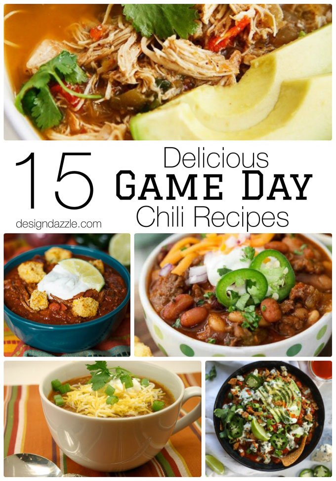 15 Delicious Game Day Chili Recipes perfect for the Superbowl! You need enough chili to feed a crowd and watch the big game! #footballfood #footballparty    Design Dazzle
