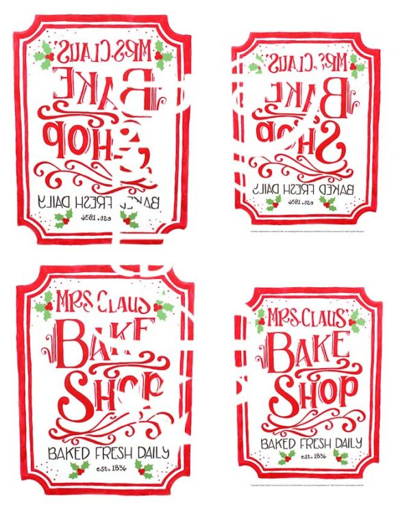 These Mrs. Claus Bake Shop printables would go perfect with a plate of cookies or on some banana bread. Which would make this a fantastic neighbor gift! | Design Dazzle