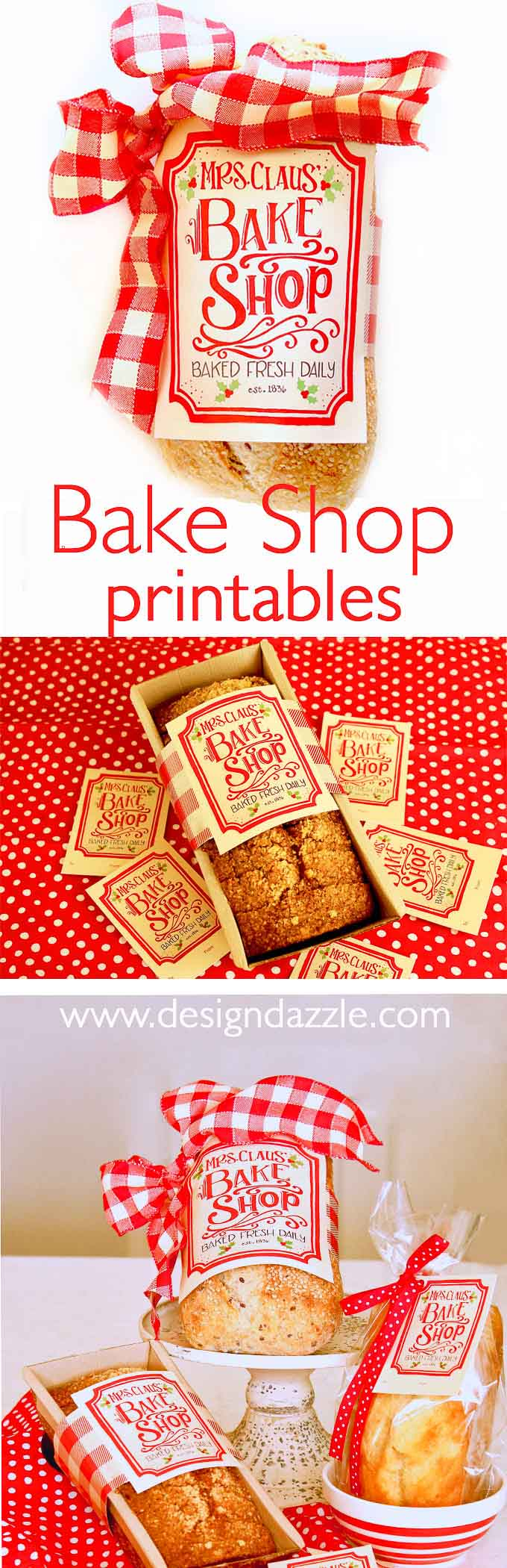 Mrs. Claus Bake Shop Sign & Printables! Check out these cute printable ideas for your Christmas baking and neighbor holiday gifts! #christmasbaking #printables || Design Dazzle