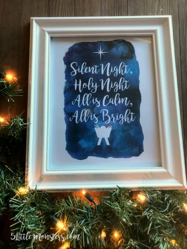 This Silent Night free printable is gorgeous! Hang it on your wall, set it on your mantle, give it as a gift, or anything else you might want to do.