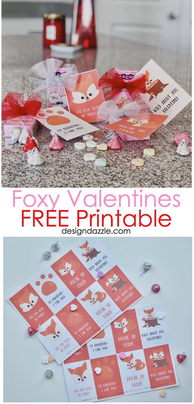 These adorable Free Printable Foxy Valentines are perfect for kids to bring to school! These cute cards have sweet quotes that just need a little treat! #valentines #valentinescards  | Design Dazzles