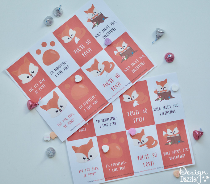 The expenses of buying Valentine's Day cards can really add up! These adorable Free Printable Foxy Valentines are the perfect solution! | Design Dazzles